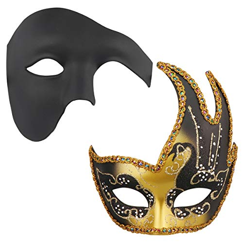 Juego de 2 máscaras venecianas de la bola de Mardi Gras para parejas, máscara de mascarada, accesorio para disfraz de fiesta (7)