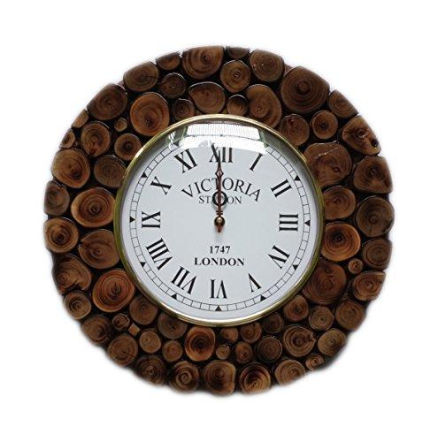 Hind Handicrafts Horloge murale décorative en forme de bûche fabriquée à la main - Bois de teck - 30,5 x 30,5 cm - Cadran de 20,3 cm