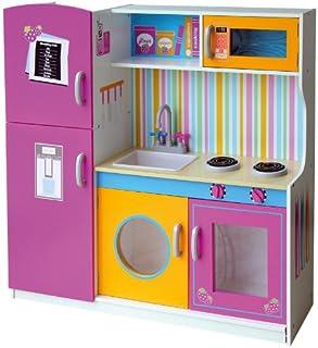 Leomark Grande y Brillante Multi Cocina Madera Infantil de Juguete - Color Rosa - Multifuncional, Funciones prácticas, par...