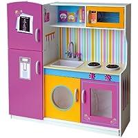 Leomark Grande y Brillante Multi Cocina Madera Infantil de Juguete - Color Rosa - Multifuncional, Funciones prácticas, para Niños, Dim: 110 (Altura) cm