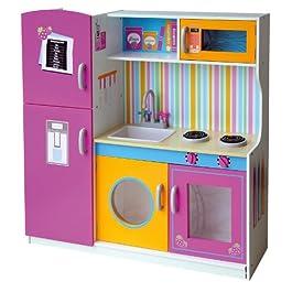 Leomark grande cucina rosa in legno, giocattolo per bambini, gioco g'imitiazione educazione, t