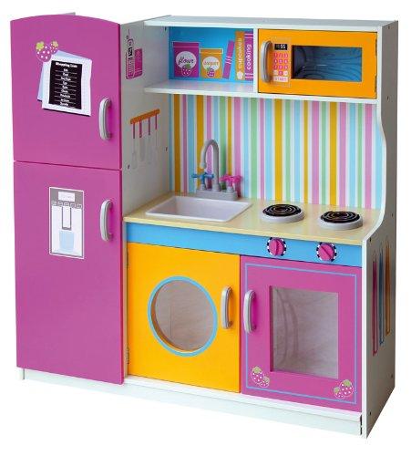 Leomark Grande Cucina Rosa in Legno, Giocattolo per Bambini, Gioco g'imitiazione educazione, tavola Divertimento, Accessori da Cucina, microonda bruciatori, frigo, Multi, Dimensioni: 104x30x110cm (A)