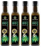 Kräuterland Bio Hanföl, Bio-zertifiziert, 1 Liter (4x 250ml), kaltgepresst, 100% naturrein, vegan, nativ, Premium Qualität, Frischegarantie: mühlenfrisch direkt vom Hersteller Kräuterland