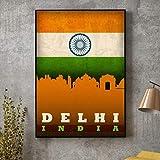 QINGRENJIE Wandkunst Bild Poster Mumbai Delhi Indien Stadt