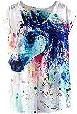 Futurino Women's Dream Mysterious Horse Print Short Sleeve Tops Casual Tee (L, White),White,Large