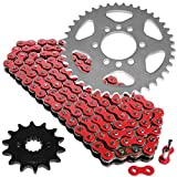 Caltric Red Drive Chain And Sprockets Kit Compatible With Suzuki Ltz400 Quadsport Z400 2003-2008