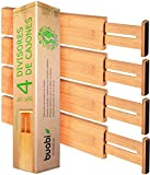 Buabi set 4 divisores de cajones. Separadores de bambú extensibles y ajustables (43-54. 5cm). Organizador de cubiertos, calcetines, ropa interior, herramientas