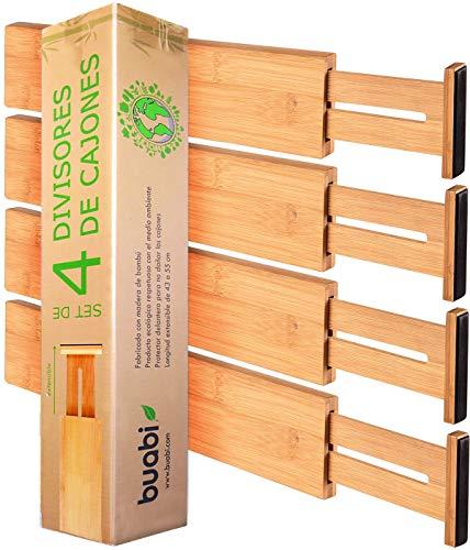 Buabi Set 4 divisores de cajones. Separadores de bambú Extensibles y Ajustables (43-54.5cm). Organizador de Cubiertos, Calcetines, Ropa Interior, Herramientas