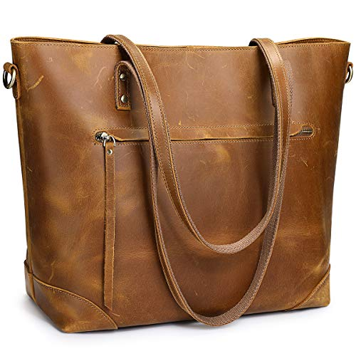 S-ZONE Vintage Genuine Leather Shoulder Tote Bag for Women Purse Handbag with Back Zipper Pocket (Light Brown)