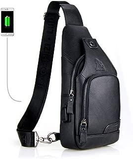 Men's Shoulder Bag, Popoti Sling Bag Chest Bag Leather Handbag Crossbody Bags Backpack Sports Outdoor Hiking Travel Messenger Bag (Black)