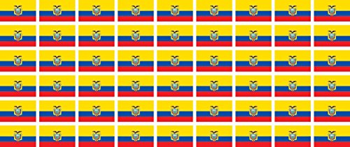 Mini Aufkleber Set - Pack glatt - 20x12mm - Sticker - Fahne - Ecuador - Flagge - Banner - Standarte fürs Auto, Büro, zu Hause & die Schule - 54 Stück