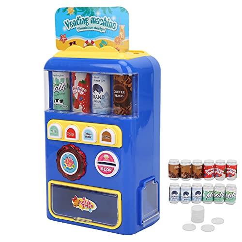 Máquina expendedora de Juguete, Mini Juegos de simulación de máquina de Bebidas Juguete Educativo de simulación de rol con luz y Sonido para niños niñas Edades 3 4 5 años(Azul)