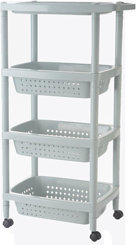 Mobile Storage Trolley Cart,Shelf Basket Space Saving Rolling Bathroom Laundry Rack,bluee