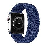jlltiioo cinturino intrecciato compatibile per apple watch 44/42mm 40/38mm, cinturino di ricambio compatibile con iwatch series 6/5/4/3/2/1/se (blu atlantico, 44/42mm m-(polso 6.3''-6.9''))