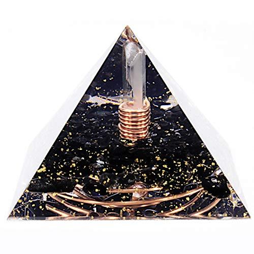Pirámide de orgonita con protección EMF hecha a mano para curar con espiral de cobre y cristal de obsidiana negra turmalina de cuarzo