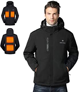 Gorich Men's Heated Jacket with Detachable Hood and Battery Pack,Waterproof Windproof Winter Ski Jacket Heated Coat