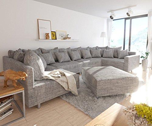 Couch Clovis XL Hellgrau Strukturstoff mit Hocker und Armlehne Wohnlandschaft