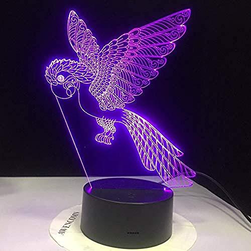 3D-presentatie Parrot Bird 3D Visual Light Illusion Nachtlampje LED kleur veranderende afstandsbediening 7 kleuren basis zwart) Decoratie Gift Party Gift/afstandsbediening 7 kleuren (