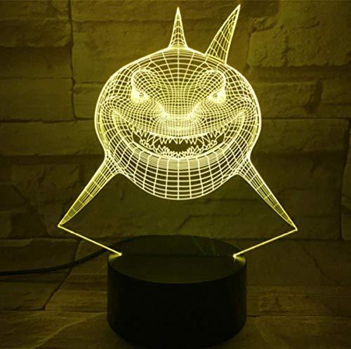 Lámpara visual imaginable en 3D Buscando a Nemo Shark Bruce Multi colores Alternando LED Luz de noche decorativa para niños Dormitorio infantil