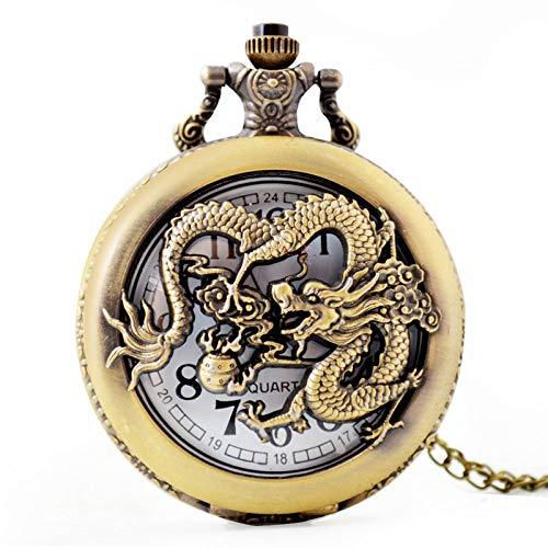 WDDYYBF Vintage Pocket Horloge Mannen En Vrouwen Ketting Hanger Geschenk, Chinese Draak Holle Brons Sleutelhanger Trui Ketting Taille Ketting Mode Sieraden Quartz Pocket Horloge