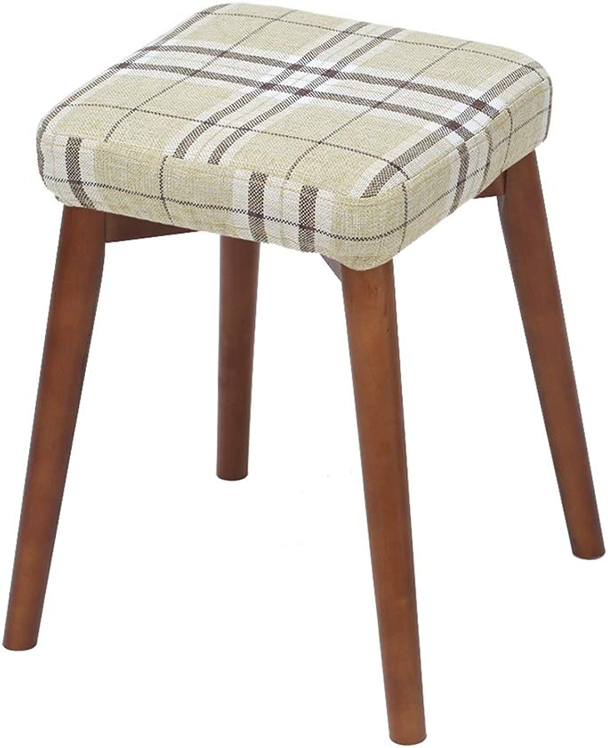 Solid Wood Stool Creative shoes Bench Fashion Fabric Dressing Stool Modern Simple Home Adult Dining Stool High Resilience Sponges Seat Height 75 cm