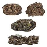 Doitool 4 Piezas de Ornamentos de Piedra Artificial de Simulación de Arena Mesa de Escritorio Decoración de Acuario Micro Paisaje Adorno de Roca Falsa Decoración de Bonsái