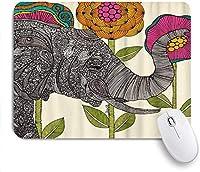 マウスパッド 個性的 おしゃれ 柔軟 かわいい ゴム製裏面 ゲーミングマウスパッド PC ノートパソコン オフィス用 デスクマット 滑り止め 耐久性が良い おもしろいパターン (ボヘミアの象の花が面白い葉)