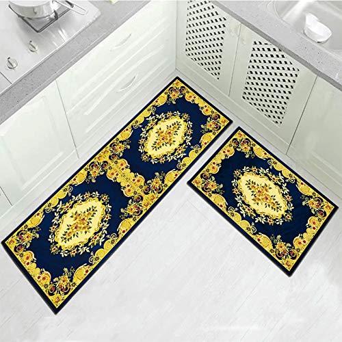 OPLJ Alfombrilla para Piso de Cocina Flores geométricas Impresas Baño Dormitorio Felpudo Sala de Estar Pasillo Alfombra Antideslizante Lavable A1 40x60cm + 40x120cm