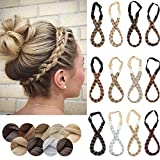 SEGO Braid Headbands for Women Chunky Braided Hair Headband Elastic Stretch Braid Hairband Wide Plaited Braids Classic Synthetic Hair Band for Girls(Small-3 Strands,26/88)