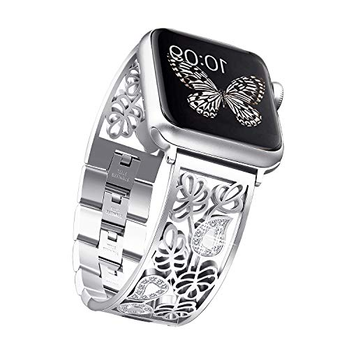 Secbolt Carved Flower Bling Bands Compatible with Apple Watch Band 42mm 44mm iwatch SE Series 6/5/4/3/2/1, Stainless Steel Dressy Jewelry Diamond Bracelet Bangle Wristband Women, Silver