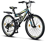 Licorne Bike Strong V (Schwarz/Blau/Lime) 26 Zoll Mountainbike Fully, MTB, geignet ab 150 cm, V Bremse vorne und hinten, Shimano 21 Gang-Schaltung, Vollfederung, Jungen-Herren Fahrrad