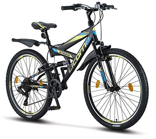 Licorne Bike Strong V 26 pollici Mountain Bike Fully, MTB, adatto a partire da 150 cm, V freno anteriore e posteriore, cambio Shimano 21 marce, sospensioni complete,bicicletta da ragazzo e da uomo