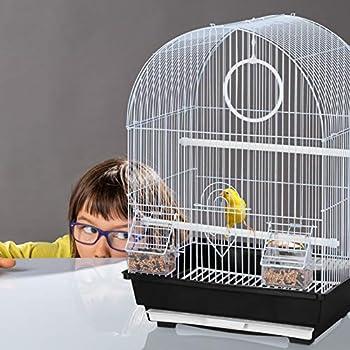 Relaxdays Cage à Oiseaux, canaris, perruches, avec perchoirs, balançoire & mangeoires, HLP 49,5 x 34,5 x 31 cm, Noir