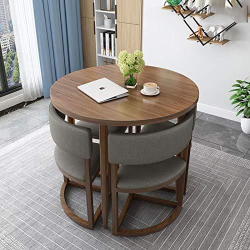 LJJOO Muebles de 5 Piezas Mesa de Comedor y sillas al Aire Libre, Mesa Redonda Moderna Tela de Tela Mesa de café sofá Asiento Oficina Oficina negociador Mesa Mesas (Color : B)