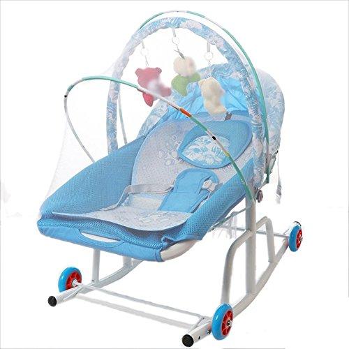 Guo Kinderliege Baby-Prahler Balance Cradle Bett Säugling-to-Kleinkind Rocker mit Spielzeug Rack und Moskitonetz (Farbe : Blue(2))