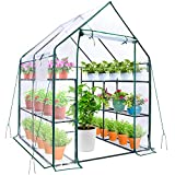 Greenhouse for Outdoors with Observation Windows, Ohuhu Walk-In Plant Greenhouses with Improved Transparent PVC Cover, 3 Tiers 12 Shelves Stands Small Green House with Pegs & Ropes, 4.9 x 4.7 x 6.4 FT