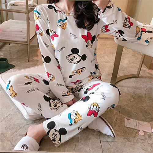 ZHANGNUO Conjuntos De Pijamas De Anime Ropa De Dormir De Manga Larga Traje De Dibujos Animados Inicio Mujeres Pijamas Ropa De Dormir Primavera Y Otoño Cálidos L/Blanco