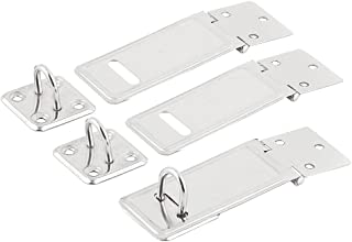 uxcell Stainless Steel Cupboard Drawer Security Latch Look Padlock Hasp Staple 3 Sets