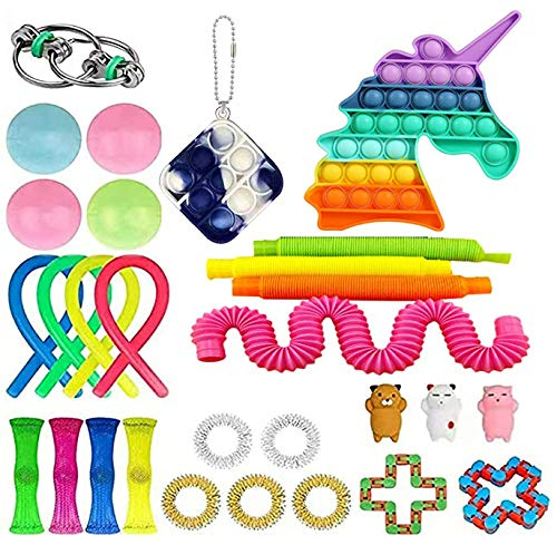 28 Pack Sensory Toys Set, Relieves Stress and Anxiety Fidget Toy for Children Adults, Toys Assortment for Birthday Party Favors, School Classroom Rewards, Carnival Prizes, Goodie Bag Fillers (G)