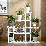 Soporte de flores de madera maciza resistente y duradero con 5 niveles de madera para decoración de jardín, estantería de madera de varios pisos para interiores y exteriores, 118 x 25 x 115 cm