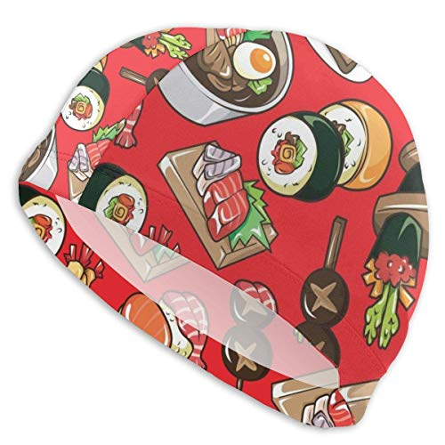 Gorro de baño Rollos de Textura Rollos de Sushi Sombrero de natación japonés para Piscina para Adultos Cabeza Grande Chicos de Pelo Gorro de baño Blanco