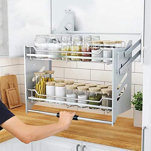WHIFEA PullDown Dish Rack System Kitchen Shelf 2 Tier Upper Cabinet Organizer For Cabinet Width ≥36#039#039