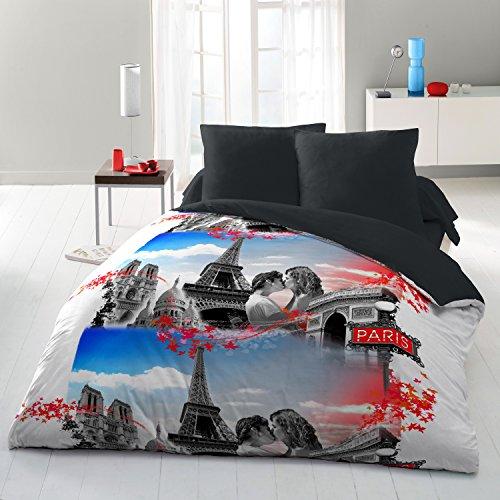 HOME LINGE PASSION Parure de Couette 3 Pièces 220x240 cm, Microfibre, Blanc-Gris-Bleu-Rouge