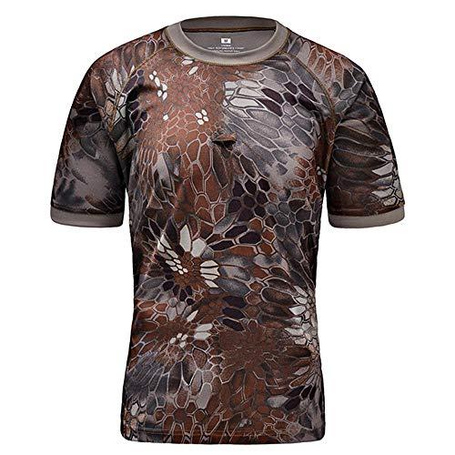 Qrigf tactische trainingspak Buitenkleding camouflage trainingspak sneldrogend T-shirt ronde hals strak tactische korte mouw Shirt Heren