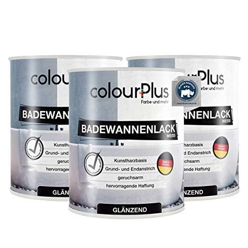 colourPlus® Badewannenlack (3x750ml, Weiß) 1K - glänzender Badewannenlack weiß - Lack für Badewanne - Emaille Farbe - Badewannen Farbe - Made in Germany