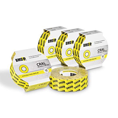 5x BMD - cral Hochleistungsklebeband (Gelb - 50mm x 40lfm) zur Verklebung von Dampfsperrfolie Dampfbremsfolie nach DIN Norm 4108 Teil 7 OSB Klebeband…