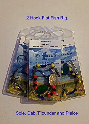 searigs 2 Hook Flattie/Flatty Rig, Sole,Plaice, Dab and Flounder x3 Packs (Hook Size #2)