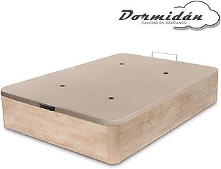 Dormidán - Canapé abatible de Gran Capacidad con Esquinas Redondeadas en Madera, Base tapizada 3D Transpirable + 4 válvulas aireación 150x190cm Color Roble