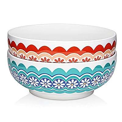 DOWAN Porcelain Serving Bowl Set of 2 - 2.8 Quarts Large Fancy Serving Bowl for Salad, Fruit, Side Dishes, Large Soup Bowl