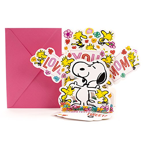 Hallmark Birthday Pop Up Card with Song from Son or Daughter (Peanuts Snoopy and Woodstock Pop Up, Plays Linus and Lucy by Vince Guaraldi), Model Number: 799MDL2023